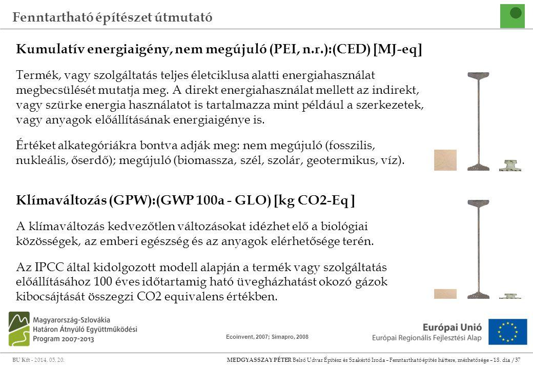 Kumulatív energiaigény, nem megújuló (PEI, n.r.):(CED) [MJ-eq]